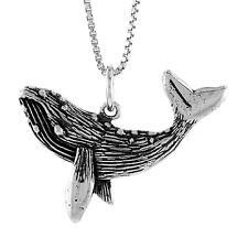 "Sterling Silver Humpback Whale Pendant / Charm, 18"" Italian Box Chain"