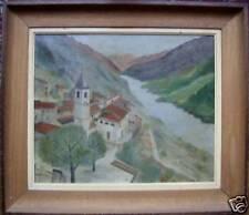 """Huile 1960 """" village dans la haute vallée du var """""""