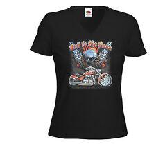 Biker Damen T-Shirt Bad to the Bone 2 Motorcycle US Bike Racing USA