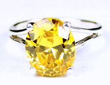 GOLDEN YELLOW CZ Sterling Silver Ladies Ring -Handmade • SR132