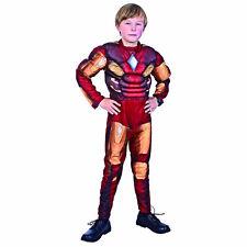 Ironman Padded Muscle Jumpsuit Boys Costume Fancy Dress