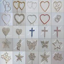 Cake Pick Silver / Gold Topper Rhinestone Diamante GEMS Hearts Snowflake Cross