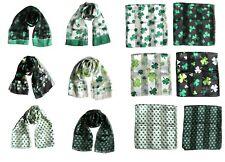 Lucky Shamrock Clover Print Scarf  Irish St Patrick's Day Scarves Shawl Wrap