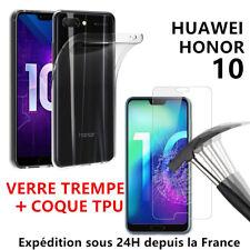 Huawei Honor 10 Coque Silicone + Film Verre Trempé Vitre Ecran Protection