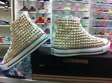 Scarpe Converse Bianche High Alte Borchiate Teschi Studs Skull Gold Oro Borchie