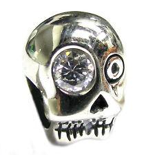 STR Silver Skeleton Skull CZ Halloween Head Bead for European Charm Bracelet