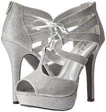 Silver Lace Up High Heel Sandal Platform Women's Bridal Formal Wedding Shoes