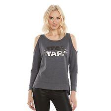 Rock & Republic Star Wars Cold Shoulder Grey Side Split Hem Sweat Shirt - 506