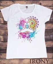 Womens T-Shirt Yoga Be Here Now Meditation Colourful Splatter Spiritual TS1471