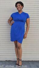 Plus Size Cocktail Dress Blue Faux Wrap NWT 16 18