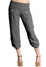 CASPAR KHS017 Pantalones Capri Pirata Pantalón Pescador Corto Lino Mujer Señora