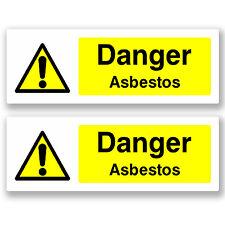 2 x 20cm Danger Asbestos - Vinyl Sticker Sign Window H&S Construction #5062