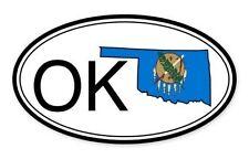 Oklahoma State Flag Oval Car Vinyl Sticker - Select Size