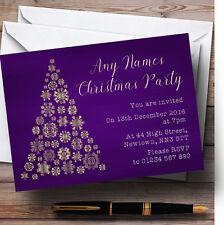 Purple & Gold Snowflake Xmas Tree Personalised Christmas Party Invitations