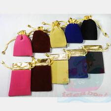 12/25/50/100pcs 9x7cm 12x9.5cm Gold Trim Velvet Jewelry Pouch Wedding Gift Bag