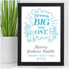 Personalised Baby Boy Baby Girl Birth Announcement Nursery Print Keepsake Gifts