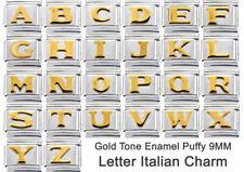 LETTER ITALIAN CHARM GOLD TONE PUFFY 9mm Charm x1 - ABCDEFGHIJKLMNOPQRSTUVWXYZ