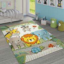 Kinderzimmer Teppich Bunt Grün Fröhliche Tiere Zoo Dschungel Muster 3-D Design