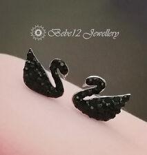 925 Sterling Silver Post/Simulated Diamond/Black Swan Stud Earring/RGE690