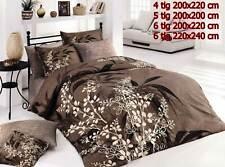 Bettwäsche Bettgarnitur Bettbezug 100% Baumwolle Kissen Decke AKASYA BRAUN