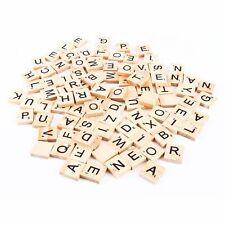 100pcs Wooden Alphabet Scrabble Tiles Black Letters & Numbers Fr Crafts Wood TOY