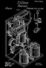 1869 - Telegraph Invention - Thomas Edison - Patent Art Poster