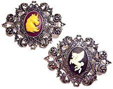 UNICORN CAMEO BROOCH victorian style gothic horse pegasus pin rococo silver 2G