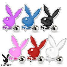 "1 PC Licensed Playboy Bunny 16g 1/4"" Tragus Labret Cartilage Ear 4MM Ball 316L"