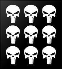"The Punisher Skull Vinyl Decals Phone Helmet Gun Mag 1"" Stickers Set of 9"