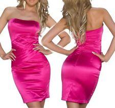 SeXy Miss Damen Mini Kleid Bandeau Pencil Satin Dress Pink S 34 M 36 L 38 NEU