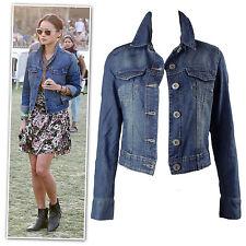 New mid-blue washed croped denim jacket