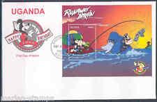 DISNEY UGANDA RUNAWAY BRAIN SOUVENIR SHEET  ON FIRST DAY COVER