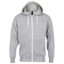 PLAIN GREY COTTON ZIP UP HOODY Mens S-8XL Soft flannel inner Gents gym hoodie