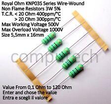 5 pezzi Resistenze a filo avvolto 3W 5% da 0,1 ohm a 120 Ohm RoyalOhm KNP03S E24