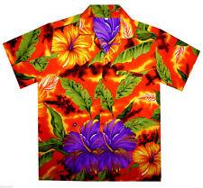 Camisa Hawaiana Big Flower Naranja