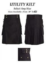 "Kilt Black Utility Kilt Select Any Size 30"" to 62"" made with Love high quality"