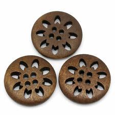 Flocon de neige évidé fleur bois couture boutons marron 25mm (1 pouces)