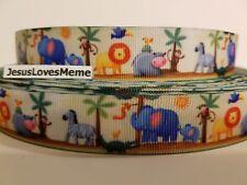"Grosgrain Ribbon Jungle Animals on a Sunny Day, Monkey Lion Elephant Zebra 7/8"""