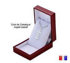 petite croix de camargue sainte Marie + chaine en argent Massif 925 + boite neuf