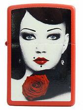 Zippo Lady with Red Rose Rote Rose auf Wunsch m. persönlicher Gravur Neu