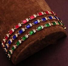 Mother's Day Costume Jewellery Coloured Square Rhinestone Bracelet Bangle