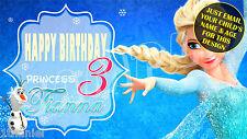 Frozen Disney Elsa Birthday Banner Personalized Custom Design Indoor Outdoor Use
