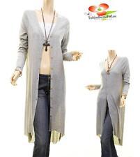 Women Gray Victorian Crochet Hi-Lo Long Tunic Dress Sweater Peasant Cardigan Top