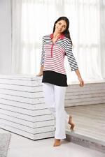 Féraud Paris Damen Pullover Shirt T-Shirt 3/4 Arm gestreift schwarz  weiß rot