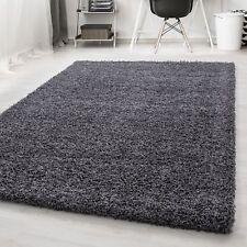 Hochflor Shaggy Teppich Langflor Pflegeleicht Einfarbig Teppich Grau