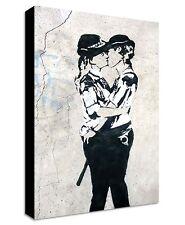 Banksy Female Kissing Cops Canvas | LARGE WALL ART | print street police women