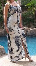 Maya Antonia-L SIZE-Tie-Dye Black-White Maxi Dress w/back straps, Extra Long