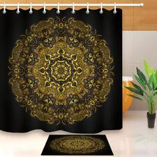 "Shower Curtain Bathroom Mat Gold Mandala Flower Pattern Waterproof Fabric 72x72"""