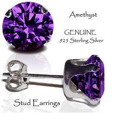 Men's or Lady's Amethyst Stud Earrings, Sterling Silver - FEBRUARY Birthstone