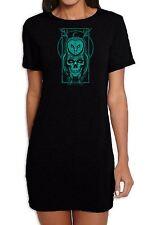 Skull Owl Hipster Women's Short Sleeve T-Shirt Dress - Pagan Wicca Celtic